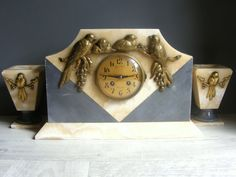 Romantic Art Deco French Marble Clock and by GrisSourisBrocante