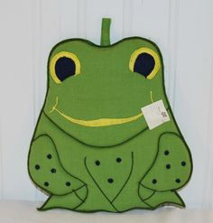 Vintage Adorable Green Frog Fabric Potholder (c. 1980) Kitchen Decor, Frog Collectible, Cuteness Overload, Gift Idea, Repurpose, Upcycle by TooHipChicks on Etsy