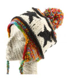 7cd7b051ae7 LOUDelephant Wool Knit Star Earflap Bobble Hat - Rainbow Space Dye Bobble  Hats