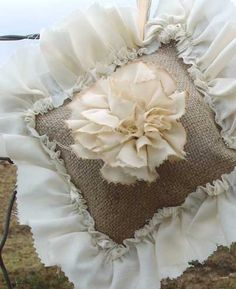 shabby chic burlap crafts | Burlap Ring Pillow with Shabby Chic Rose $29 | Wedding Styles.Clothes ...