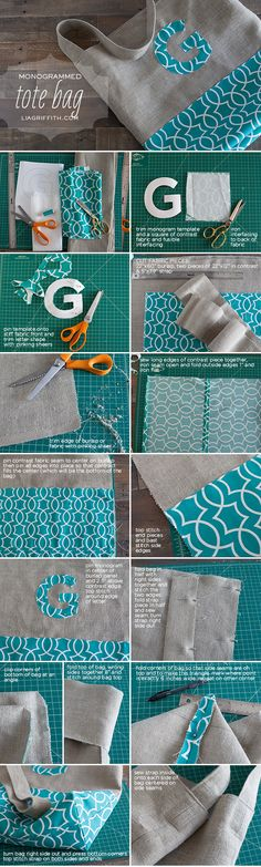 """Monogrammed Tote Bag Tutorial and Free Large Monogram Letter Template."", ""Monogrammed Tote Bag Tutorial - Would probably do without the monogram"", Sewing Hacks, Sewing Tutorials, Sewing Crafts, Sewing Patterns, Sewing Basics, Bag Patterns, Quilting Patterns, Bag Tutorials, Tote Pattern"