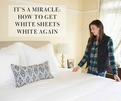 Put down the bleach, sister. One of my biggest wedding registry regrets is (drum roll please! Our sheets have tuned a yellow hue from sweat, body oils, and skin care products - so gross I know! I have tried everything under the sun t White Down Comforter, Yellow Comforter, White Bedding, White Bed Sheets, Old Sheets, How To Bleach Whites, Cleaning White Sheets, Clean Sheets, How To Whiten Clothes