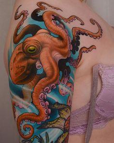 Borneo tattoos camaleon tattoo new school, tattoo new. Octopus Tattoo Design, Octopus Tattoos, Shark Tattoos, Tattoo Designs, Buddha Tattoos, Monkey Tattoos, Dog Tattoos, Body Art Tattoos, Sleeve Tattoos