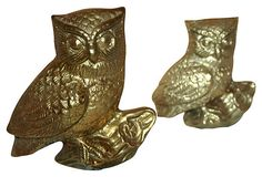 Brass Owls, Pair on OneKingsLane.com
