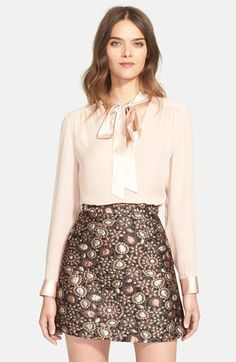 Free shipping and returns on Alice + Olivia 'Irma' Tie Neck Silk Blouse at Nordstrom.com. A long tie at the neck and luminous trim lend polished details to a flowing silk top with gentle pleating at the shoulders.