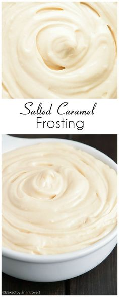 Frosting Creamy salted caramel frosting that pairs great with chocolate or vanilla cakes.Creamy salted caramel frosting that pairs great with chocolate or vanilla cakes. Frosting Recipes, Cupcake Recipes, Baking Recipes, Cupcake Cakes, Dessert Recipes, Cake Icing, Frosting Tips, Poke Cakes, Layer Cakes