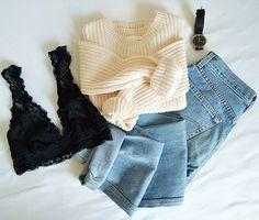#outfit #jeans #levis #pullover #hm #trianglebra #blacklace #watch #kaptanandson #rosegold