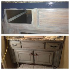 painted, glazed, distressed bathroom vanity. started with graphite