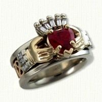 My dream engagement/wedding ring...Claddagh ring with stone heart and a Celtic knot that wraps all the way around the ring <3