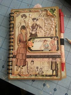 Altered note book using Graphic 45 A Ladies Diary