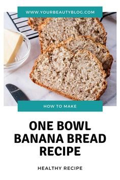 Easy healthy banana bread recipe. This moist homemade recipe can be made in one bowl. Make a skinny quick bread with white whole wheat flour, no sugar, no nuts and eggless. This is the best recipe for a banana bread with low calories. It can also be made into muffins or mini loaves. #bananabread #healthy #skinny