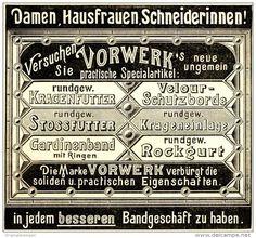 Original-Werbung/ Anzeige 1898 - VORWERK BÄNDER / FUTTER - ca. 90 x 75 mm