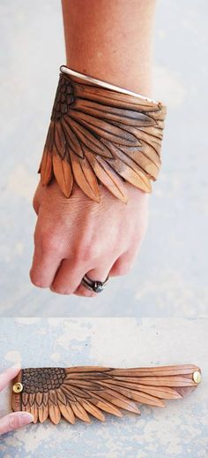 Very interesting tooled leather bracelet by Jess Amity. Like it but maybe a little smaller for me Leather Carving, Leather Art, Leather Cuffs, Leather Design, Leather Tooling, Leather Jewelry, Tooled Leather, Leather Store, Sewing Leather