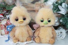 Artist Teddy  Lovely  chicks   3,9 inches OOAK.