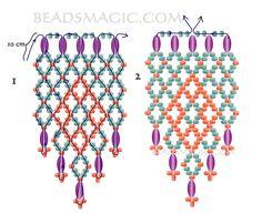 Resultado de imagen para free seed bead patterns and instructions Diy Necklace Patterns, Beaded Earrings Patterns, Beading Patterns Free, Seed Bead Patterns, Beading Tutorials, Free Pattern, Beading Projects, Diy Seed Bead Earrings, Seed Beads
