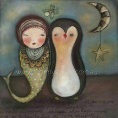 Mermaid and Penguin Original Art Print by TammyStoweArt on Etsy #print #etsy #art #originalart #artwork #fineart #whimisicalart #mermaid #penguin #nursery #moon