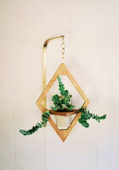 Geometric Hanging Planter // Modern Brass & Wood by weareMFEO