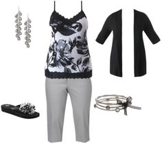 A basic black + white + grey combo with adorably chic accessories. So simple, but the tank makes it fun!