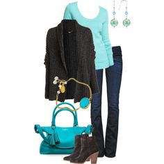 """""""Aqua Blue and Charcoal Gray"""" by simple-wardrobe on Polyvore"""