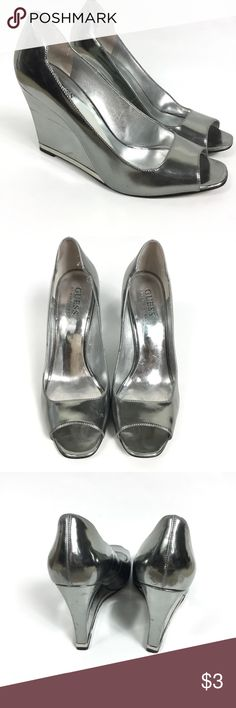GUESS BY MARCIANO SILVER WEDGE HEELS Guess by Marciano silver wedge heels,  size 7.5. 89229eb8cf