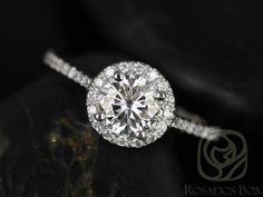 Kubian 6mm 14kt White Gold Round FB Moissanite and Diamonds Halo Engagement Ring (Other metals and stone options available)
