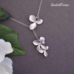 Collar de orquídeas, collar, collar de la boda, collar, collar de Dama de honor, joyería nupcial, collar Lariat, regalos de Dama de honor