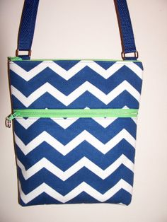 Navy Blue White Chevron Small Zipper by BHipBags on Etsy, $30.00