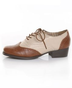 Bamboo Tuxedo 02 Tan & Beige Spectator Lace-Up Oxfords $28.00