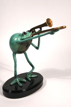 Cast Bronze Amphibious Jazz Trombonist Sculpture by incogknito