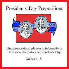 Use this printable worksheet for practice in finding prepositional phrases in informational text about the history of Presidents' Day. History Of Presidents, Presidents Day, Social Studies Activities, Teaching Social Studies, Writing Activities, Prepositional Phrases, School Fun, School Stuff, School Holidays