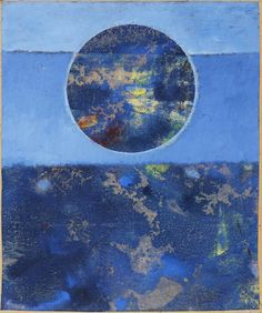 Max Ernst (German, 1891-1976) Violette Sonne oil on waxed paper laid to board Painted circa 1962 I like the cool colors in this piece. the pattern uses horizontal lines and shape. its like two pictures in one. The big pictures makes me feel like I'm looing and the sun reflecting on the ocean.  The one in the circle looks like a mountain and stream picture to me.