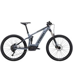 The 2020 Trek Powerfly FS 4 Electric Mountain Bike in Battleship is a full-suspension electric mountain bike that pairs the capability of a 130 mm trail bike with the power of a Bosch motor. Electric Mountain Bike, Mountain Bicycle, Electric Bicycle, Electric Motor, Mountain Biking, E Mtb, Full Suspension, Bike Trails, Battleship