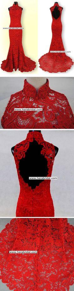 Red lace wedding dress  o.o... I want.