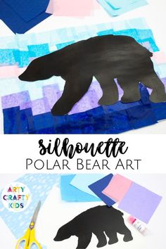 Looking for winter art projects for kids to make at home or school? This silhouette polar bear art for kids is easy for children to make with our printable stencils. Get printable stencils + step by step instructions for this silhouette winter art for kids project + more easy silhouette art projects for kids here! Polar Bear Art Projects for Kids | Winter Crafts for Kids | Winter Polar Bear Crafts for Kids | Winter Tissue Paper Crafts for Kids | Winter Paper Crafts for Kids | Winter Kids…