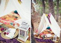 Spring Picnic Date: Simply tie a rope between trees and drape a sheet over it to create an adorable tent! This can be done at night with candles for added romance.