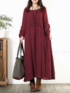 Women Long Sleeve Cotton Vintage Solid Color Round Neck Loose Maxi Dress - Banggood Mobile