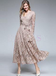 Dresses | Maxi Dresses | Elegant Pure Color V-neck Long Sleeve Belted Slim Maxi Dress
