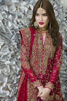 Crimson A-line shirt adorned with beautiful neckline, stripes and hemline. Matching dupatta having embellished border on four sides. Indian Bridal Lehenga, Pakistani Dress Design, Pakistani Wedding Dresses, Indian Dresses, Indian Outfits, Pakistani Wedding Outfits, Bridal Outfits, Pakistani Couture, Pakistani Gharara