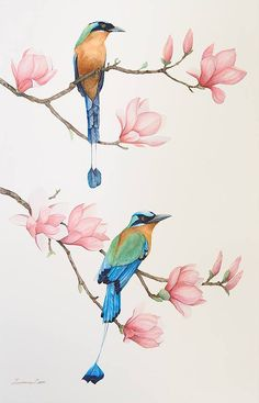 Chinese Bird Painting Flower 47 Ideas The Effective Pictures We Offer You About Bird artwork A quali Watercolor Bird, Watercolor Paintings, Bird Paintings, Bird Artwork, Fabric Painting, Painting & Drawing, Motif Floral, Bird Illustration, Bird Drawings