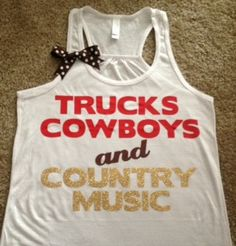 Trucks Cowboys and Country Music Racerback Tank | Ruffles with Love