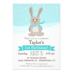 Woodland Winter Bunny Rabbit, Kid's Birthday Party Cards