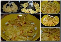 Chips avec Actifry - 5 Pommes terre moyenne 1/2 c huile Sel On prend les patates, on les coupes très fines (1 mm robot ou mandoline), on les lave à l'eau jusqu'à ce qu'elle soit claire, on les sèche dans torchon . On dispose les tranches fines dans la friteuse, on ajoute 1/2 C huile on met le timer à 25 mn et on met en marche. De temps en temps, on vient les séparer et surveiller. On sort les chips dans un bol, on ajoute du sel puis on les laisse refroidir. Root Vegetable Gratin, Root Vegetables, Tefal Actifry, Gourmet Recipes, Healthy Recipes, Cuisine Diverse, Cooking Chef, Mandoline, Air Fryer Recipes