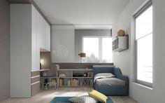 Cameretta Mistral con letto a terra in tessuto azzurro, scrittoio per zona studio in olmo chiaro e armadio (con ponte autoportante) bianco con cassetti laccato terra.