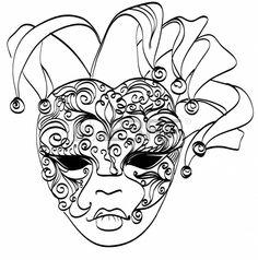 Dibujo vectorial máscara veneciana del carnaval máscara de Venecia Italia aislados en blanco Foto de archivo
