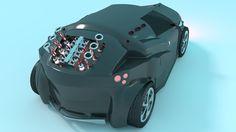 3D Concept Car Back View