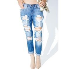 I'm Shredded Boyfriend Jeans ($47) ❤ liked on Polyvore featuring jeans, destructed jeans, flap-pocket jeans, torn boyfriend jeans, destroyed jeans and flying monkey jeans