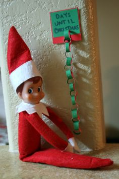 Elf on the Shelf. Elf brought an itty-bitty countdown chain. Love this!