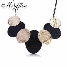 Meyfflin Fashion Statement Necklaces for Women Maxi Necklace Vintage Accessories Choker PU Leather Collier Femme Collar Jewelry