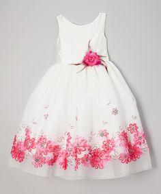Look at this #zulilyfind! Chic Baby White & Fuchsia Embroidered Daisy Dress - Girls by Chic Baby #zulilyfinds