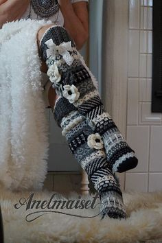 Ravelry: Anelmaiset Black and White Maija socks pattern by Anelma Kervinen Crochet Shoes, Crochet Slippers, Knit Crochet, Knitting Patterns Free, Knit Patterns, Free Knitting, Knit Leg Warmers, Funky Socks, Lace Ribbon